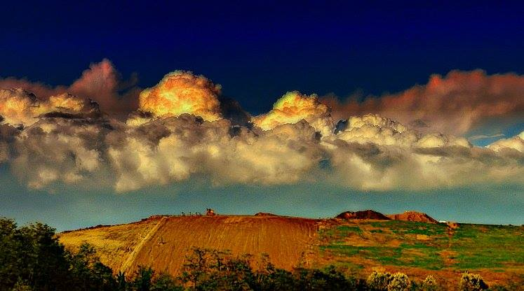 Clouds over Hill by Nat Bolfan-Stosic - Landscapes Cloud Formations ( clouds, hill, sky, white, yelolow, black )