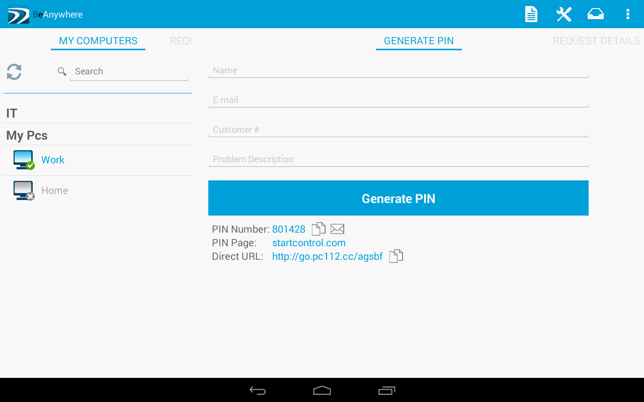 BeAnywhere Mobile Console - screenshot
