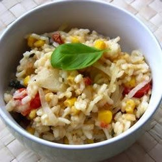 Risotto with Tomato, Corn and Basil