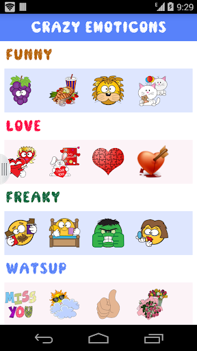 Crazy emoticons for chats