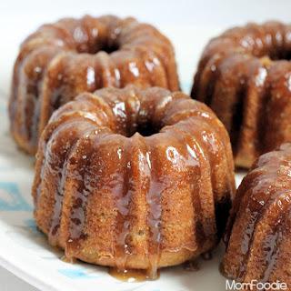 Baby Banana Bundt Cakes with Vanilla Caramel Glaze