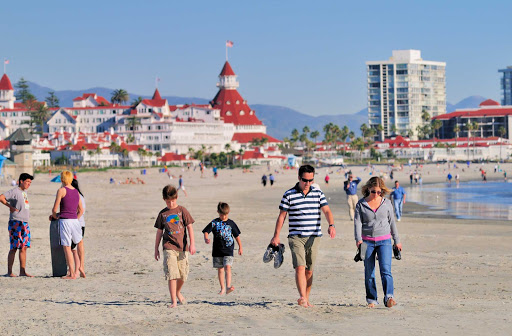 San-Diego-Coronado-family - A family on Coronado Beach near San Diego.