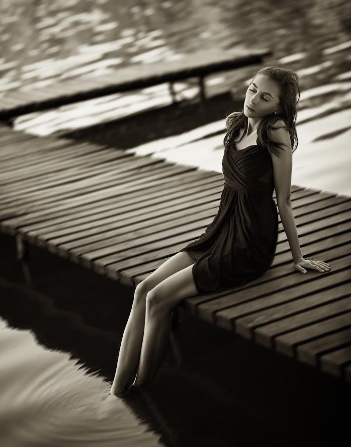 Calmness by Piotr Dejneka - People Portraits of Women ( water, girl, woman, rest, brunette )