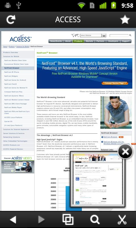 NetFront Life Browser- screenshot
