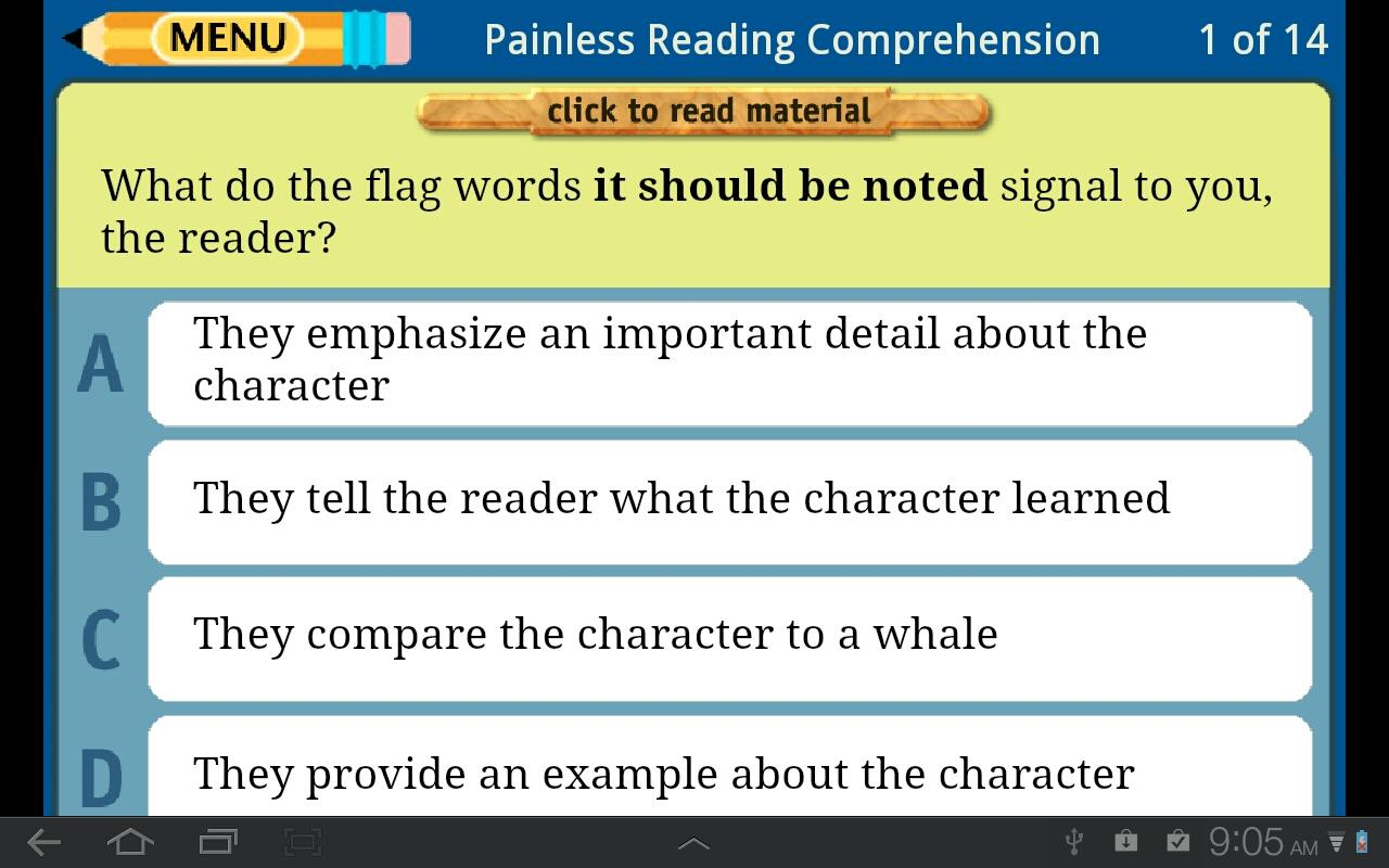 Painless Reading Comprehension- screenshot
