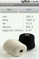 Screenshot of Yarn Calculator