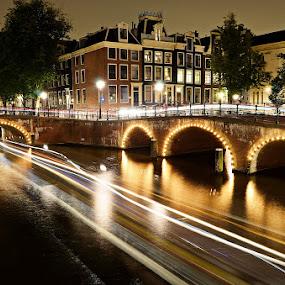 Amsterdam Canal at night by Darlis Herumurti - City,  Street & Park  Night