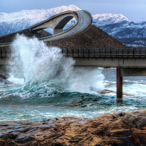 Storm on Atlantic Road. by Jan Helge - Buildings & Architecture Bridges & Suspended Structures ( waterscape, waves, bridge, road, atlantic, storm,  )