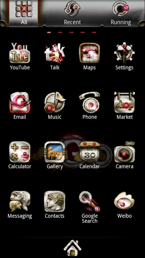 Silver GoLauncher EX theme - screenshot