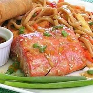 Grilled Salmon With Orange Glaze.