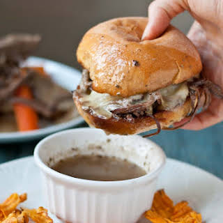 Slow Cooker Beef Brisket French Dip Sandwiches #SundaySupper.