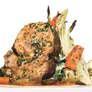Braised Veal Shoulder with Gremolata and Tomato-Olive Salad.