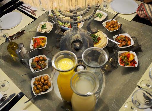 Middle-Eastern-lunch - Middle Eastern food served in a market in Jerusalem.