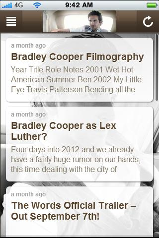 Bradley Cooper Fan App - screenshot