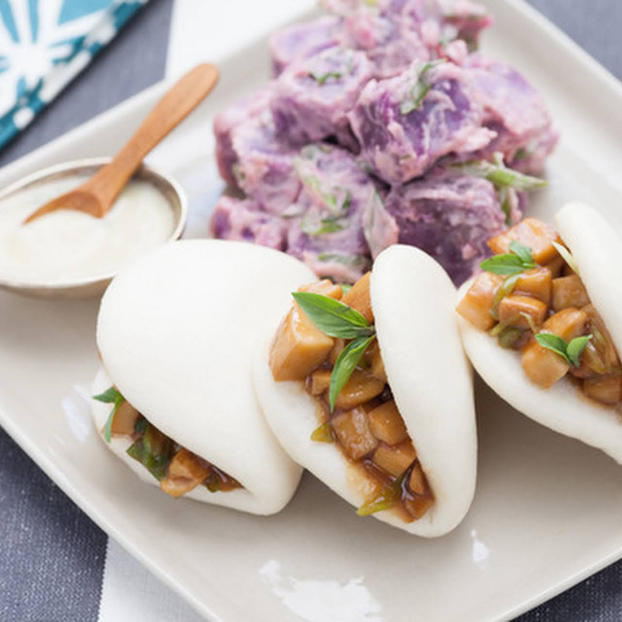 King Trumpet Mushroom Steam Buns with Miso Butter & Japanese Sweet Potato Salad