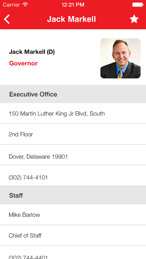 Delaware Government Directory- screenshot