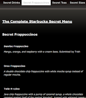 Screenshot of Complete Starbucks Secret Menu