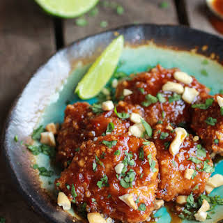 Sweet and Sour Sticky Thai Boneless Oven Baked Chicken Wings.