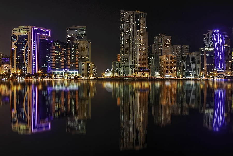 Sharjah Skyline by Aswyn Patrick - City,  Street & Park  Night ( office, water, hdr, buildings, reflections, longexposure, light, sharjah )