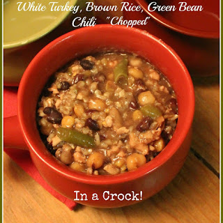 White Turkey, Brown Rice, Green Bean Chili Chopped in a Crock