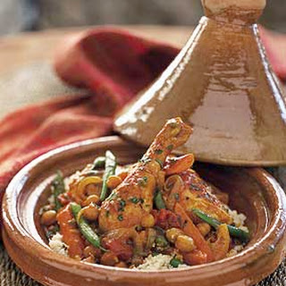 Chicken Tagine with Chickpeas and Mint.