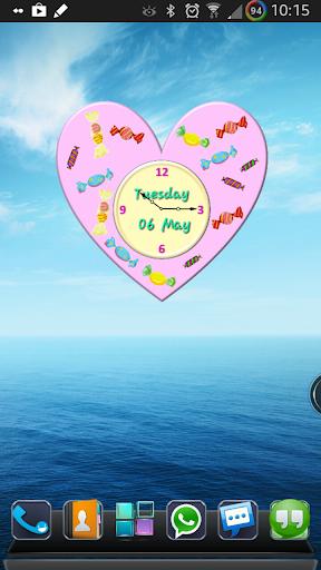 Lovely Pink Heart Clock Widget