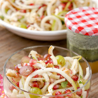 Spiralized Apple-Pear Pomegranate Slaw with Honey Poppyseed Dressing