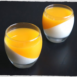 White Chocolate Panna Cotta With Mango Coulis.