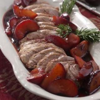Pork Tenderloin with Roasted Plums & Rosemary