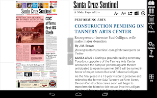 Screenshot of Santa Cruz Sentinel e-Edition