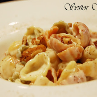 Pasta with Gorgonzola Cheese Sauce and Nuts.