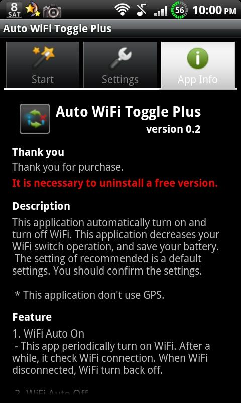 Auto WiFi Toggle Plus- screenshot