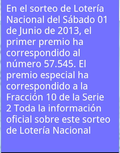 Resultados Lotería en España - screenshot