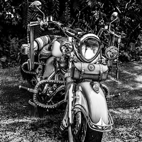 Motorcycle by Rick Touhey - Black & White Objects & Still Life ( bike, classic motorcycle, indian, motorcycle,  )