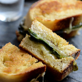 Sourdough Grilled Cheese with Roasted Poblanos, Smoked Cheddar and Curried Brown Butter.