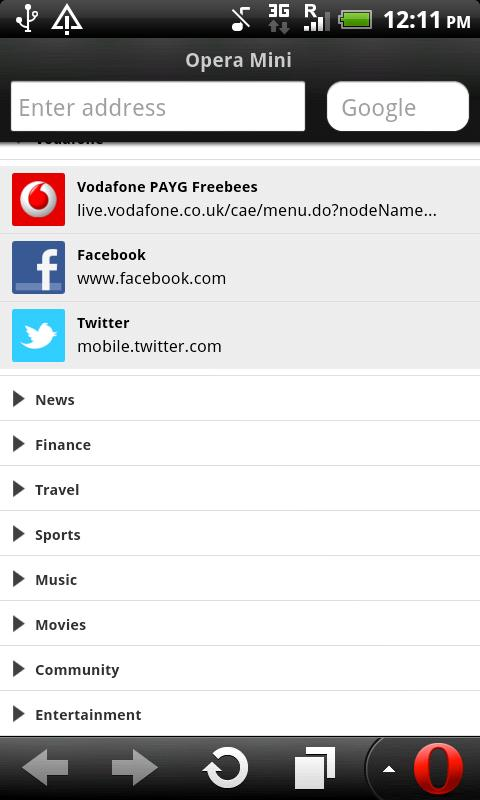 Vodafone Opera Mini Browser - screenshot