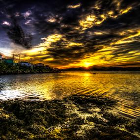 Small boat at sunset by Eugene Ball - Landscapes Sunsets & Sunrises ( newfoundland, big sky, sunset, boat, dusk,  )
