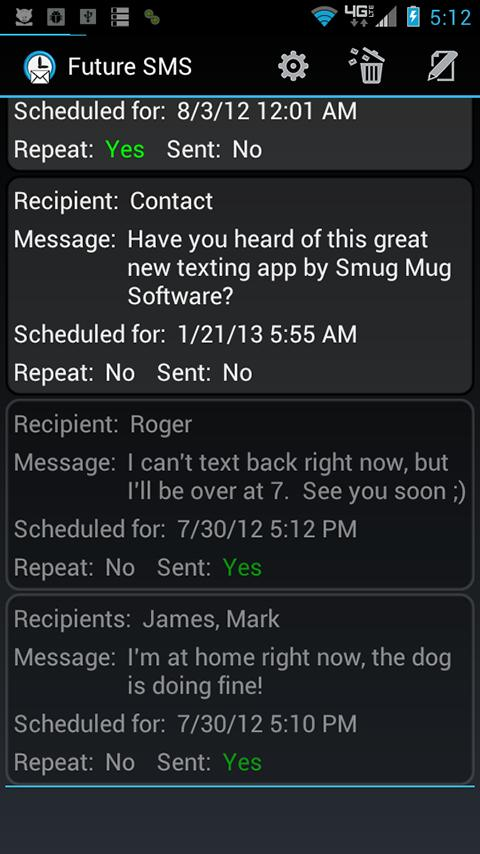 Future SMS Text Scheduler - screenshot