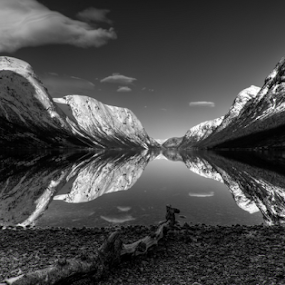 Mirror by Rune Askeland - Black & White Landscapes ( mountains, jølster, snow, sunnfjord, reflections, lake, norway )