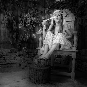 Daisy and Her bubbles by Ryan Bedingfield - Black & White Portraits & People (  )