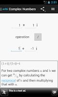 Screenshot of Complex Numbers Calculator
