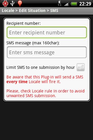 Locale SMS Plug-in (cupcake)- screenshot