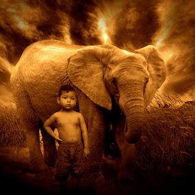 Si kecil sang penggembala gajah by Azay Boyan - Digital Art People ( abstract, animals, digital art, people )