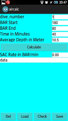 Diving_SAC Rate calculation