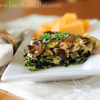 Mushroom and Spinach Quiche.