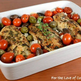 Baked Mediterranean Chicken Breasts with Tomatoes, Olives, Capers, and Garlic.