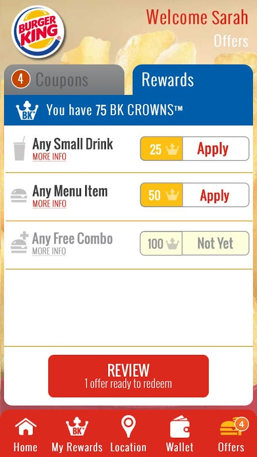 BURGER KING® Rewards - screenshot