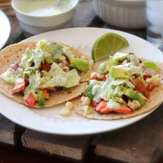 Blackened Salmon Tacos with Avocado Corn Salsa & Cilantro Ranch Dressing.