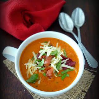 Tomato Basil Soup with Asiago & Bacon.