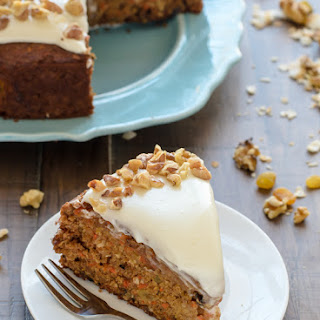Healthy Carrot Cake with Light Cream Cheese Frosting.